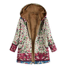Womens Winter Warm Outwear Floral Print Hooded Pockets Vintage Oversize Coats CA