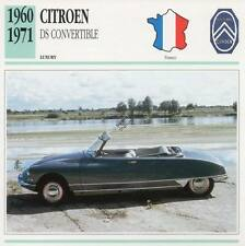 1960-1971 CITROEN DS CONVERTIBLE Classic Car Photograph / Information Maxi Card