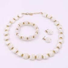Luxurious Women Charm Pearl Crystal Necklace Bracelet Earrings Jewelry Set Gift