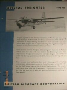 BRISTOL FREIGHTER  BRITISH AIRCRAFT CORP 1960s  BROCHURE  ORIGINAL CONDITION