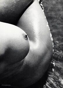 1960s LUCIEN CLERGUE Vintage Female Nude Breast Hip Water Beach Photo Art 12x16