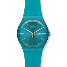 Swatch Unisex Turquoise Rebel Plastic Watch, Date Function, 3 ATM, SUOL700