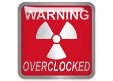 "Warning Overclocked Red 1""x1"" Chrome Domed Case Badge / Sticker Logo"
