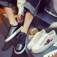 Women's Fashion Lace Up Sports Running Sneakers Embroidery Flower Trainers Shoes
