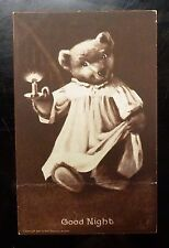 {BJ STAMPS} GOOD NIGHT Teddy Bear with candle M.T. Sheahan's Famous Picture