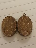 Antique Rolled Gold Victorian Double Sided Locket With Photo A/F