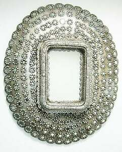 Wooden Peacock Style Antique Finish Silver Wall Big Size Mirror Frame For Decor