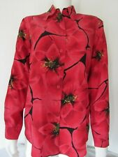 Spiegel S BlouseTop Shirt Vintage Red 100% Silk Long Sleeve Button Front Floral