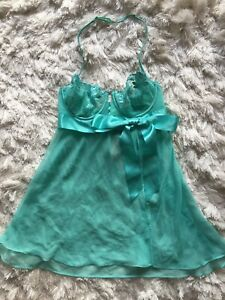 Victoria's Secret Very Sexy Babydoll Lingerie 34B Turquoise Blue Green