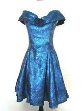 Scott McClintock Womens Vtg 80s Metallic Blue Tulle Lined Party Prom Dress 10
