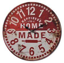 d8014089b154 Reloj De Pared Felicidad Retro Envejecido 40 cm Análogo Rojo Blanco Cocina