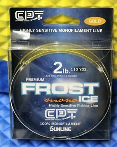 Clam Premium Frost Ice Fishing Line 100% Monofilament 110YD 2LB Gold 15607