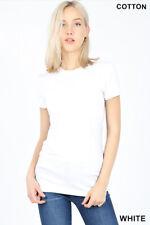 Zenana CREW NECK Cotton T-shirt Short Sleeve Soft Stretchy Basic Tee Top *USA*