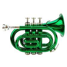 NEW Merano Pocket Trumpet GREEN Lacquer Mini Band Student Beginner Starter Gift