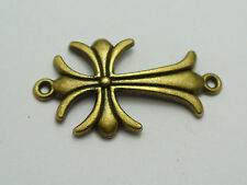 20 Bronze Tone Alloy Flower Cross Pendants Connector Charms 40X22mm