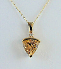 Citrine Trillion 8mm with Diamond Accent Necklace 10K Yellow Gold Retail $530