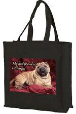 Sharpei Dog Cotton Shopping Bag, Choice of Colours, Black, Cream, Pink
