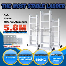 5.8m Multipurpose Ladder Aluminium Extension Folding Adjustable Platform Steps