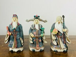 Set Chinese Resin Figures Immortal Gods Fu Lu Shou Longevity Good Luck Statues