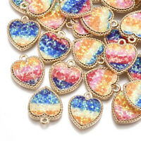 10pcs Colorful Alloy Sequins Heart Pendants Mini Dangle Charms Crafting 18x15mm