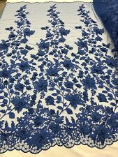 3D Flower-Floral Embroidered Lace R- Blue Mesh Fabric Wedding Dress By The Yard