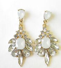 1930s Style Or Argent Blanc Faux Boucles D'oreilles Opales Goutte Clous Lustre