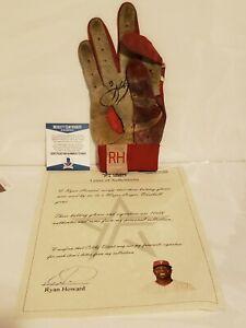 Ryan Howard Signed Phillies Game Used UA Batting Glove Howard LOA & Beckett COA