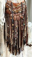 Handmade Velvet Brown Leather Fringe Bag Hippie Festival Boho Hobo Purse tmyers