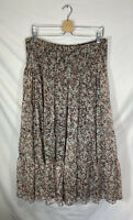 Lauren Ralph Lauren Women's Pink Black Floral Print Long Tiered Full Skirt Size