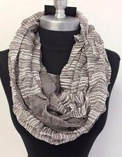 USA Seller! Men's striped Brown/White infinity scarf circle cowl Soft wrap #N
