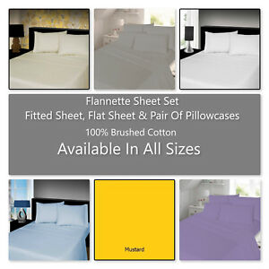 Luxury 4-PC 100% Brushed Soft Cotton Thermal Flannelette Sheet Set In All Sizes