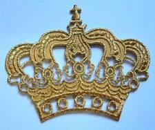 CUTE BEAUTIFUL IMPERIAL GOLDEN CROWN Embroidered Iron on Patch Free Postage