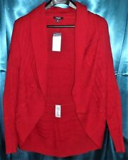 Chaps LS Round Hem Cable Knit No Closure Shawl Cardigan Sweater Jacket  Red  2X