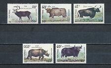 Laos #1015a-e MNH, Wildlife, 1990