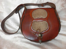VINTAGE ETHNIC BROWN TOOLED LEATHER SADDLE SATCHEL BAG!EXCELLENT!