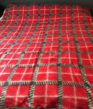 "PRELOVED VINTAGE WOOL GREY RED CREAM PLAID BLANKET  68"" X 86"""