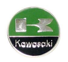 Kawasaki lapel pin green black chrome round classic vintage motorcycle UK MADE