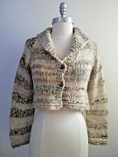 NEW DOSA beige brown gray chunky alpaca cropped cardigan sweater size 2 S M