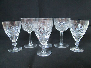 6 x Beautiful Vintage Cut Crystal Sherry or Liquor Glasses Two Different Styles