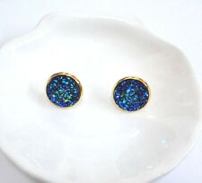 GOLD PLATED SPARKLING DRUZY RESIN PEACOCK BLUE ROUND STUD EARRINGS 12MM