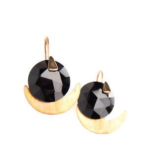 RRP €380 ATELIER VM 9K Gold Drop Earrings Faceted Onyx Stone HANDMADE in Italy
