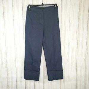 Bebe High Waist Crop Jeans Size 0 Womens Stretch Cuffed Peddle Pusher Dark Blue