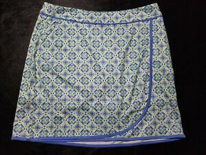 1 NWT WOMEN'S GREG NORMAN SKORT, SIZE: MEDIUM, COLOR: WHITE/GREEN/BLUE (J309)