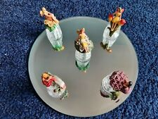 More details for gorgeous set 5 sterling classic flower fairy crystal cut glass thimbles  (set 3)