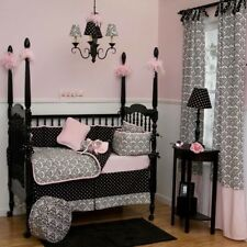 Pink Black White Damask Baby Girl Crib Bedding Comforter Set