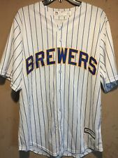 Milwaukee Brewers MLB Majestic Cool Base White Pinstripe Jersey in size Large
