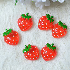 Cute 12pcs Red Resin Strawberry Flatback Scrapbooking Pendant Phone DIY Craft