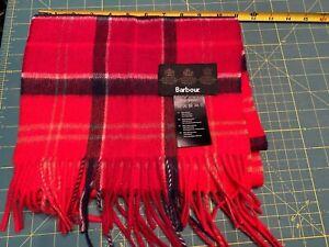 BARBOUR Holden Merino Wool / Cashmere Red Tartan Scarf