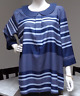 Modcloth blue stripe dotted 3/4 sleeves collared keyhole plus size tunic top 1X