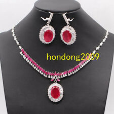 SUMPTUOUS NATURAL TOP RICH RED RUBY-CZ NECKLACE EARRING JEWELERY SET